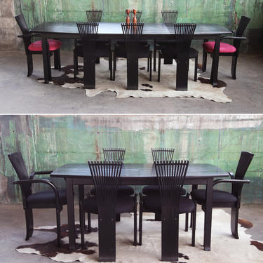 FAB SET--8 Eight Torstein Nilsen Post Modern Black TOTEM dining chairs + Table Mid Century Modern McM 80's Memphis Geometric high back by CatchMyDriftVintage