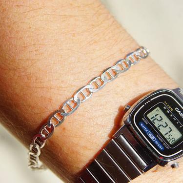 """Vintage Sterling Silver Mariner Link Bracelet, Italian 925 Mariner Chain Bracelet, Modernist/Minimalist Bracelet, Unisex, 7 1/4"""" L by shopGoodsVintage"""