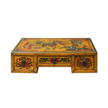 Chinese Yellow Lacquer Graphic Table Top Stand Display Easel cs4679E by GoldenLotusAntiques