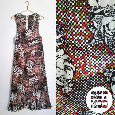Cool Vintage 60s Mod Black and White Neon Multicolor Pixel Dot Style Jumper Maxi Dress! by RETMOD