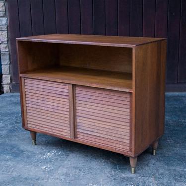 1960s Mid-Century Cedar Credenza Cabinet Vintage Apartment Sized by BrainWashington