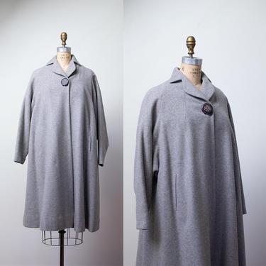1950s Gray Wool Swing Coat / 50s Russeks Dolman Sleeve Clutch Coat by FemaleHysteria