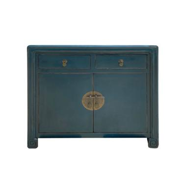 Distressed Teal Blue Lacquer Scroll Legs Oriental Mid Side Table Cabinet cs6931E by GoldenLotusAntiques