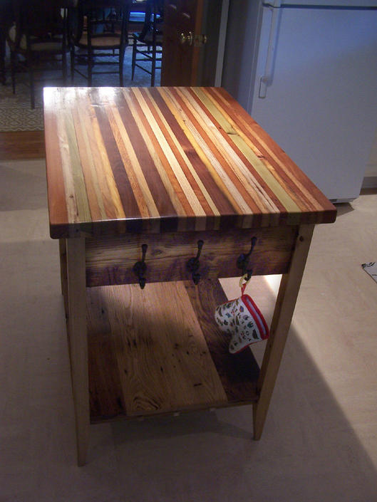 Butcher Block Kitchen Island from Reclaimed Hardwood by StrongOaksWoodshop