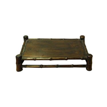 Chinese Brown Wood Carved Rectangular Table Top Stand Display Easel cs4208E by GoldenLotusAntiques