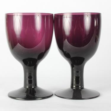 Vintage Maroon Wine Glassware, Maroon Glassware, Vintage Glassware, Wine Glassware, Heavy Glassware, Hand Blown, Burgundy, Set of 2 by 1882BlueVintage