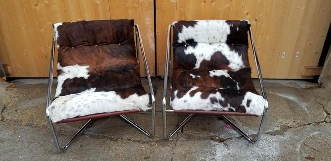 Vintage Mid Century Italian Modern Set of Chrome Tubular Framed Brazilian Cow-Hide Upholstered Scoop Sling Chairs