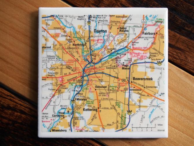 1990 Dayton Ohio Handmade Repurposed Vintage Map Coaster - Ceramic Tile - From 1990s State Farm Atlas - Vintage Ohio Decor - Wright State by allmappedout