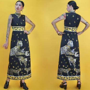 Vintage 60s Cirette of California Leopard Family Portrait Knit Jersey Dress /SZ S/ 1960s MOD Symmetry Animal Novelty print Maxi Dress by TheeAppleBoutique