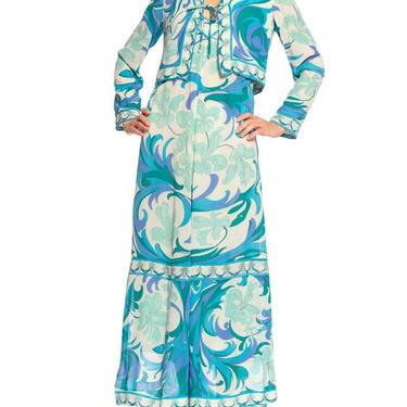 1960'S Emilio Pucci Aqua  Blue Silk Chiffon Psychedelic Floral Print Dress by SHOPMORPHEW