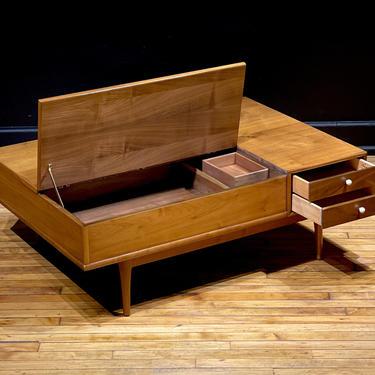 Drexel Declaration Walnut Platform Coffee Table by Kipp Stewart - Mid Century Modern Danish Style Furniture by MidMod414
