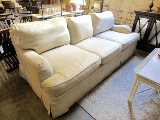 BERNHARDT ROLLED ARM SOFA IN SAND FABRIC