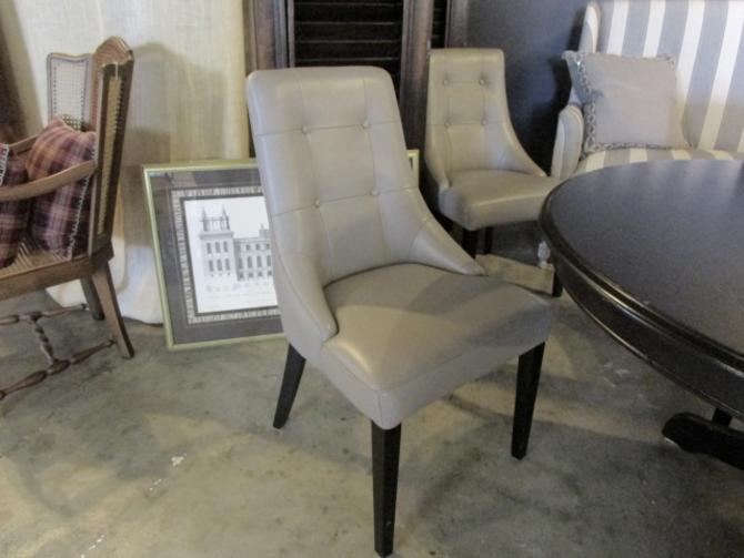 SET OF SIX FAUX GREY LEATHER DINING CHAIRS