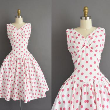 1950s vintage dress   Gorgeous White Cotton Pink Polka Dot Sweeping Full Skirt Summer Dress   Medium   50s dress by simplicityisbliss
