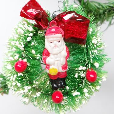 1940's Bottle Brush Wreath Ornament with Celluloid Santa, Holly Berries, Vintage Christmas by exploremag