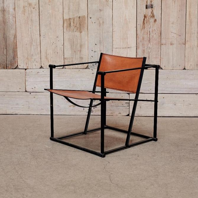 Metal And Leather Safari Chair