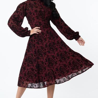 Unique Vintage Burgundy La Catrina Velvet Burnout Leota Swing Dress