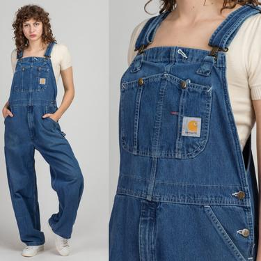 Vintage Carhartt Denim Unisex Overalls - Large, 36x30   90s 00s Blue Jean Bib Overall Pants Baggy Long Inseam Unisex Dungarees by FlyingAppleVintage