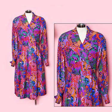 Adele Simpson Designer Dress, 80's Colorful Floral print Dress Silk Evening Party Dress, 1980's by Boutique369
