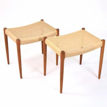Pair of Vintage Danish Modern Teak Niels Moller 80A Cord Seat Stools Ottomans by PrairielandArt