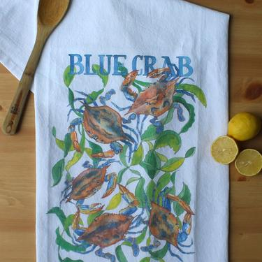 Blue Crab Watercolor Kitchen Towel