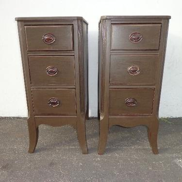 Pair of Nightstands Hepplewhite French Provincial Empire Antique Shabby Chic Storage Bedside Tables Country Bedroom CUSTOM PAINT AVAIL by DejaVuDecors