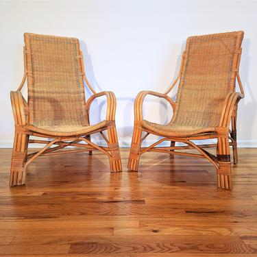 Mid Century Pair of High Back Rattan Lounge Chairs by ProRefineFurnishings