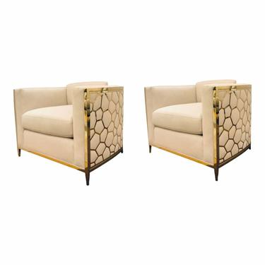 Caracole Modern Ivory and Gold Ice Breaker Club Chairs - a Pair