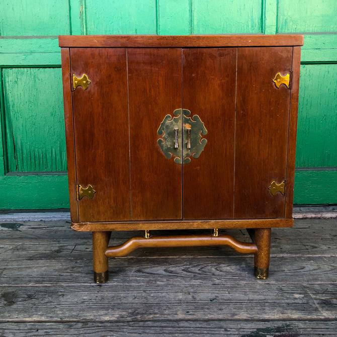 Mid century Asian inspired nightstand cabinet