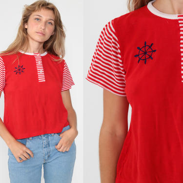 Striped Nautical Blouse 70s Shirt Wheel Print Top Sailor Ringer Tee 1970s Novelty Vintage Boho Retro Short Sleeve Red White Large by ShopExile