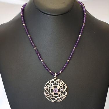 Vintage David Sigal 925 silver amethyst affixed pendant necklace, romantic sterling shamrock hearts purple gemstone beads designer statement by BetseysBeauties