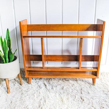 Vintage Solid Wood Midcentury Bookshelf with Brass Leg Detailing by PortlandRevibe