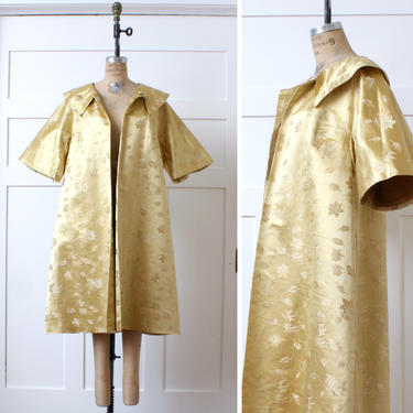 vintage 1950s 60s swing coat • gleaming gold brocade clutch coat in heavy silk satin by LivingThreadsVintage