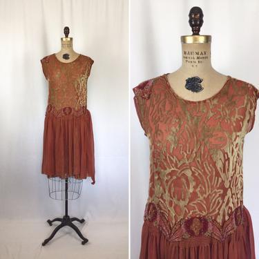 Vintage 20s Dress   Vintage orange cut velvet floral beaded dress   1920's beaded silk velvet flapper dress by BeeandMason