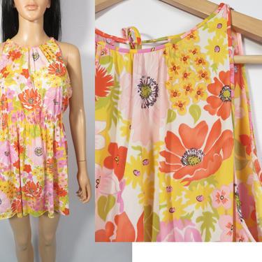 Vintage 60s Bright Floral Reworked Slip Dress Lougewear Mini Size M by VelvetCastleVintage