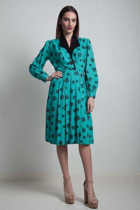 green shirtwaist pleated dress vintage 70s cotton flocked black velvet print long sleeves LARGE L by shoprabbithole