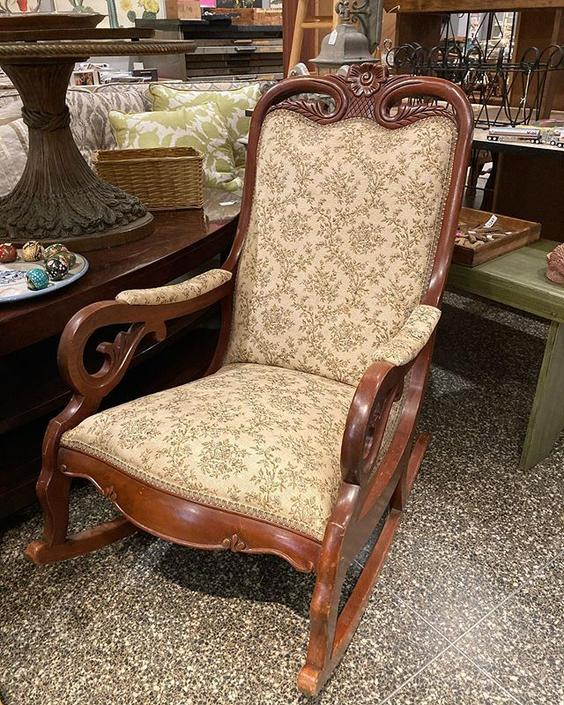 """Granny chic rocker. Chair is 23 """" wide 34"""" deep, 38.5 """" tall. Seat is 21"""" deep, 19.5"""" wide and 18"""" tall."""