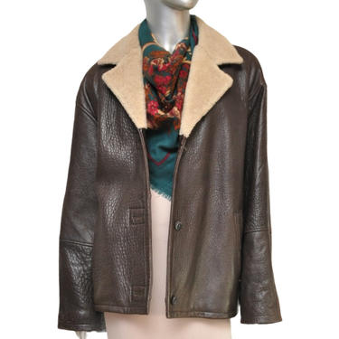 90's Brown Leather Jacket with Faux Fur Trim Size Large Fall Winter Jacket by TheUnapologeticSoul