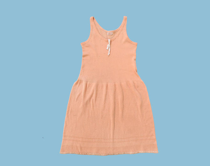 1920s Knit Slip Dress / Rare 20s Lingerie Dress / Peach Pink Camisole Dress by GuermantesVintage