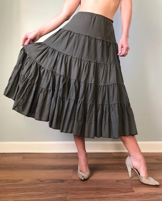 Vintage Cotton Peasant Skirt Olive Green by SpeakVintageDC