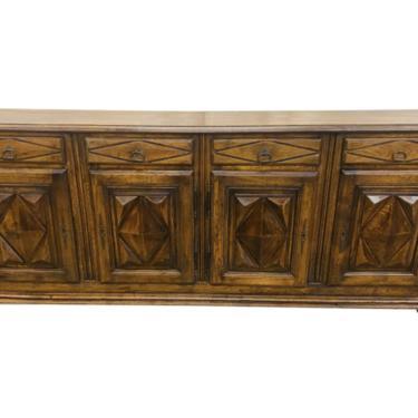 Italian Oak Four Door Credenza - Early 20th C