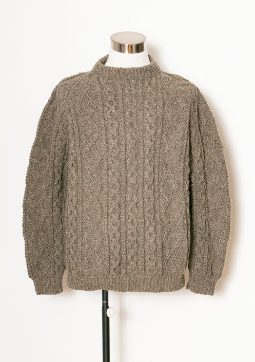 1990s Wool Fisherman Sweater Irish Brown Large Deadstock by dejavintageboutique