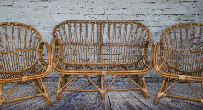 SHIPPING NOT FREE!!! Vintage Franco Albini Style Set of Bench and 2 Chairs by WorldofWicker