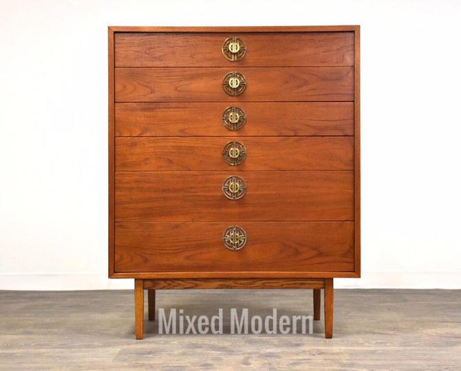 Teak Tall Mid Century Dresser by mixedmodern1