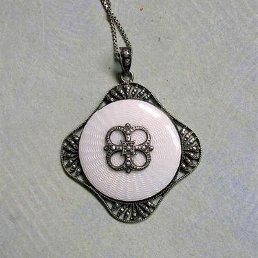 Antique 1930's Sterling Enamel Pendant Necklace; Austrian Enamel Necklace; Antique Guilloche Enamel Pendant (#3553) by keepsakejewels