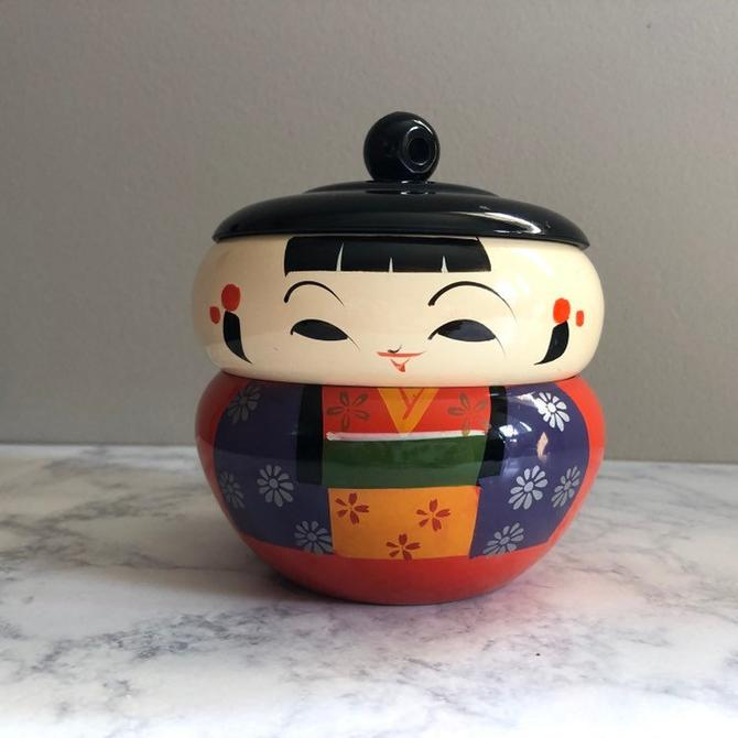 Vintage Kokeshi Bento Lacquerware Stacking Box, Figurative Traditional Japanese Woman, Trinket Box Jewelry Box by ShopTheHyphenate