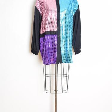vintage 80s shirt sparkly foil sequin mondrian color block geometric blouse top XXL black pastel clothing plus size by huncamuncavintage