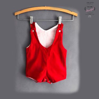 vtg Red Velvet Baby Overalls Jumpsuit 1950's, 1960's Vintage Pants, Romper, Play suit, Jump Suit, coveralls Kids Infant Boys Girls by Boutique369