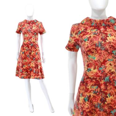 1960s Autumn Scooter Dress - 1960s Fall Leaves Print Dress - 1960s Autumn Dress - 1960s Autumn Leaves Print Dress | Size Extra Small by VeraciousVintageCo