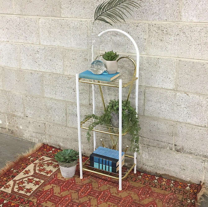 Vintage Plant Stand Retro 1990s Gold + White Metal 3 Tier + Small Plants + Table + Stand + Rack + Bent Metal + Heart + Bathroom + Home Decor by RetrospectVintage215